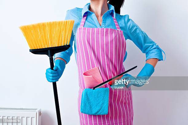 Woman Prepared to Clean House