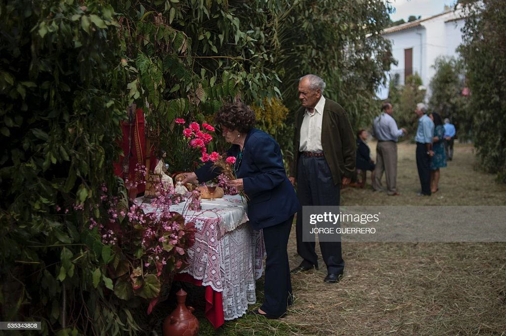 A woman prepares an altar before the procession during the Corpus Christi celebrations in El Gastor, southern Spain on May 29, 2016. The village of El Gastor celebrate the feast of Corpus Christi (or Body of Christ in Latin) covering the streets and facades of houses with branches of trees and grass. / AFP / JORGE