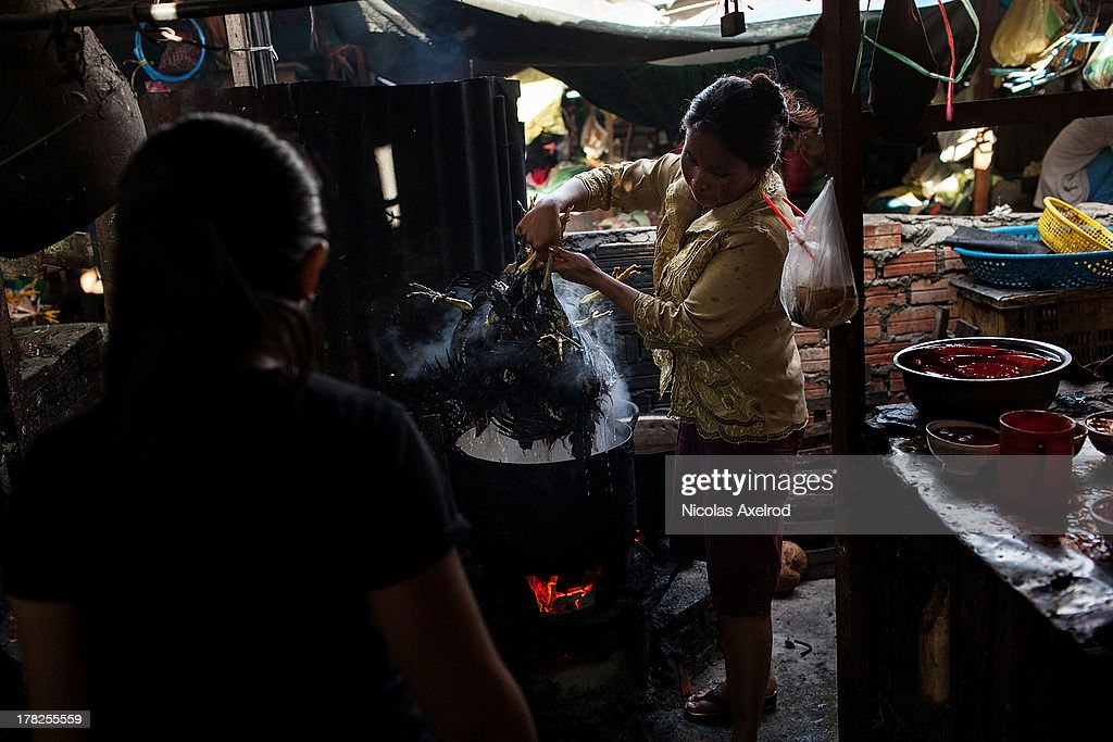 A woman prepares chickens for sale at the Kandal Market in central Phnom Penh on August 25, 2013 in Phnom Penh, Cambodia. Cambodia has seen the worst out break of Avian influenza H5N1 since the disease was first identified, so far this year 17 cases have been report, 10 of which have been fatal.