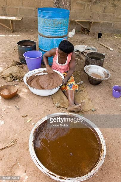 A woman prepares shea butter in Savelugu town Ghana