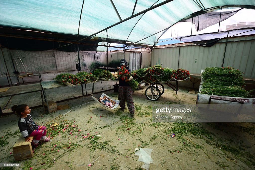 A woman prepares the flowers for Mother's Day and her daughter watches her at a greenhouse in Antalya, Turkey on May 6, 2016.