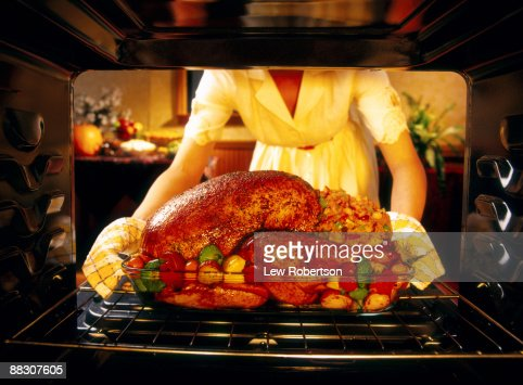 Woman preparing roasted turkey in oven
