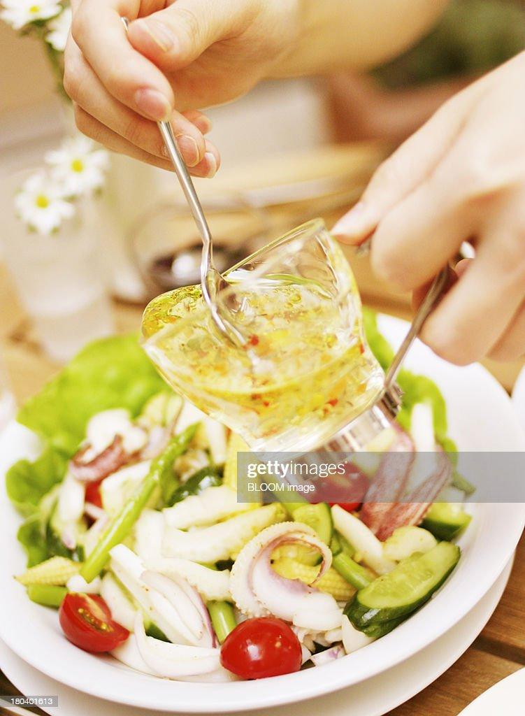 Woman Preparing Salad : Stock Photo