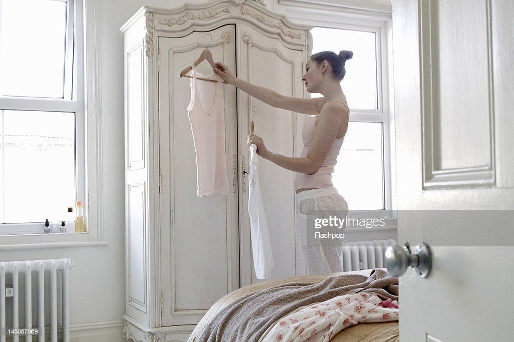 Woman preparing to get dressed
