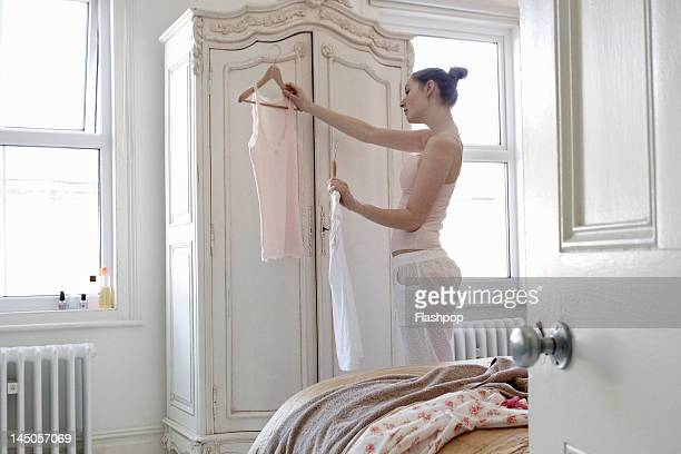 Woman preparing to get dressed
