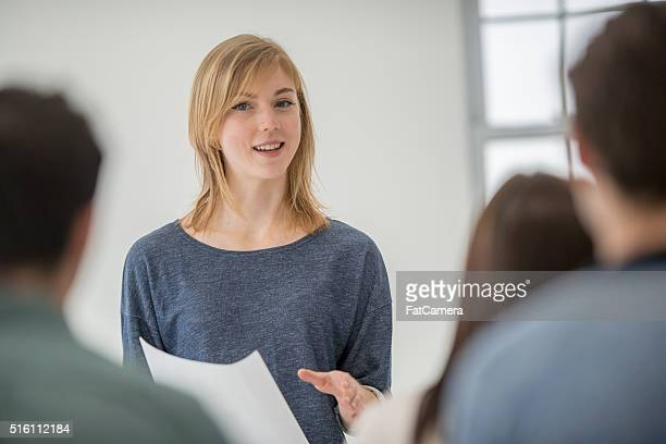 Woman Presenting in a University Class