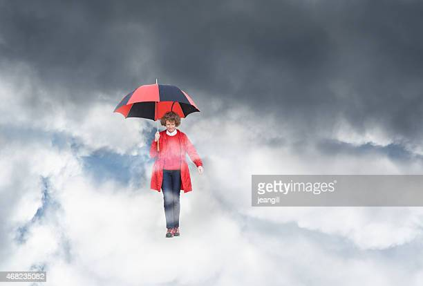 Woman protected from the storm, falling through the sky