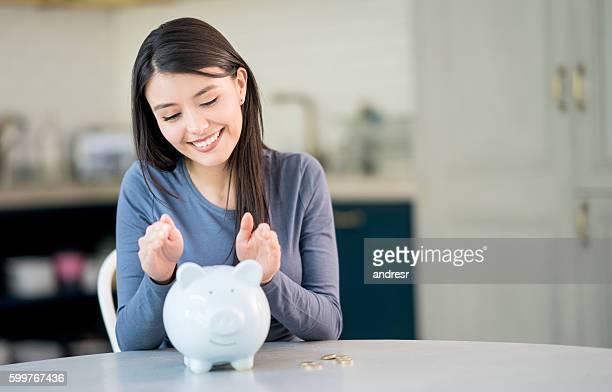 Woman protecting her savings