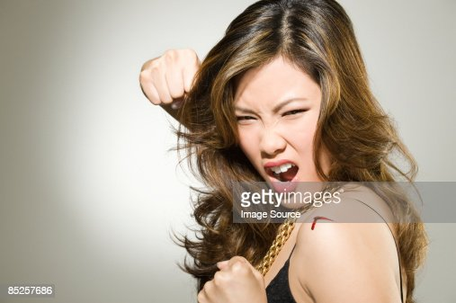 A woman punching