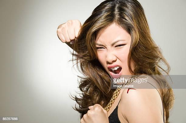 A woman punching