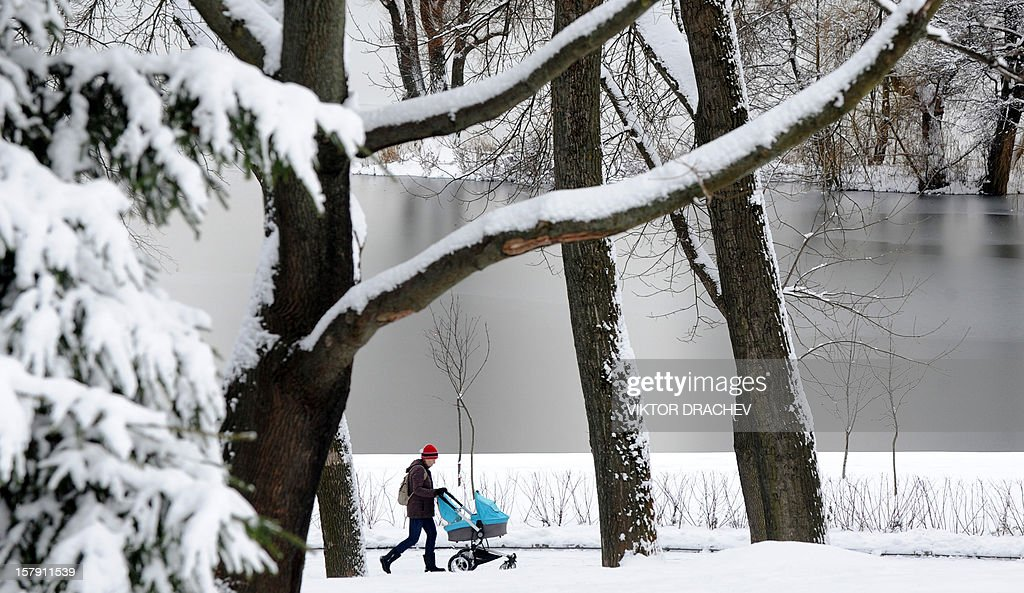 A woman pushes a baby stroller in a snow clad park in the Belarus capital Minsk, on December 7, 2012.