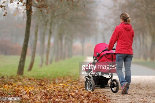 A woman pushing a stroller in a foggy park