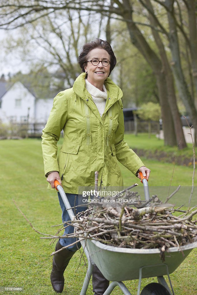 Woman pushing a wheelbarrow full of branches : Stock Photo