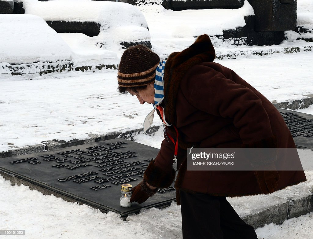 A woman puts down a candle during a ceremony at the memorial site of the former Nazi concentration camp Auschwitz-Birkenau in Oswiecim, Poland, on Holocaust Day, January 27, 2013. The ceremony took place 68 years after the liberation of the death camp by Soviet troops, in rememberance of the victims of the Holocaust. AFP PHOTO / JANEK SKARZYNSKI