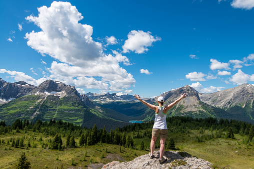 Woman raises arms overhead above mountain meadow