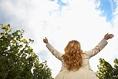 Woman raising arms in vineyard (rear view, low angle view)