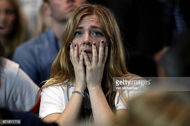 A woman reacts as she watches voting results at Democratic presidential nominee former Secretary of State Hillary Clinton's election night event at...