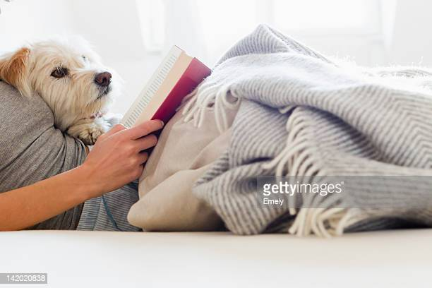 Woman reading in bed with dog