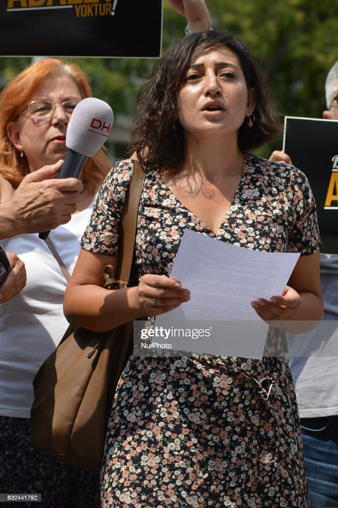 A woman reads a press statement as anti-government demonstrators gathered in front of the Supreme Election Council (YSK) to protest against unsealed ballot papers in the voting for the Turkish constitutional referendum in Ankara, Turkey on August 16, 2017. The referendum was held on April 16 as the demonstrators chant the slogan 'We still search for justice' in the fourth month after historic voting.