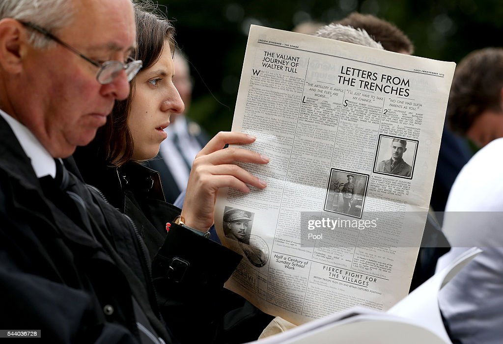A woman reads a reprinted newspaper ahead of the Commemoration of the Centenary of the Battle of the Somme at the Thiepval Museum ahead of the 100th anniversary of the beginning of the Battle of the Somme at the Thiepval memorial to the Missing on July 1, 2016 in Thiepval, France. The event is part of the Commemoration of the Centenary of the Battle of the Somme at the Commonwealth War Graves Commission Thiepval Memorial in Thiepval, France, where 70,000 British and Commonwealth soldiers with no known grave are commemorated.