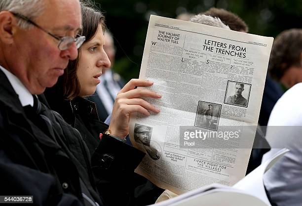 A woman reads a reprinted newspaper ahead of the Commemoration of the Centenary of the Battle of the Somme at the Thiepval Museum ahead of the 100th...