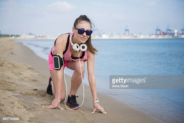 Woman ready to start jogging. Gdansk, Poland