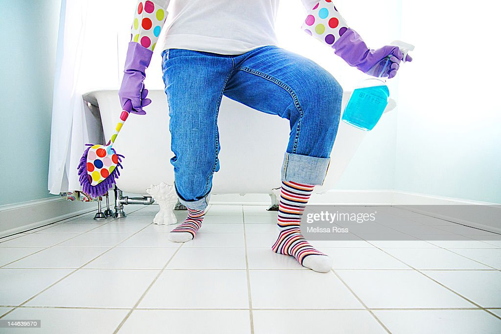 Woman readying herself to clean : Stock Photo