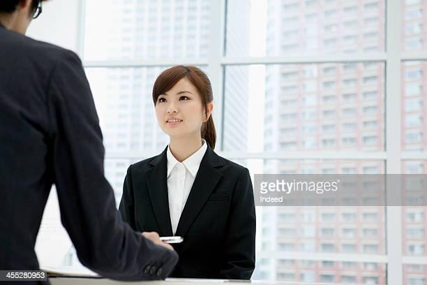 Woman receives an interview