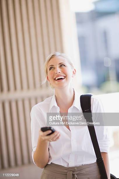 Woman receiving a funny sms