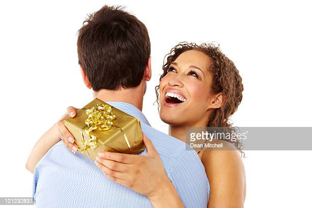 Woman Receiving a Gift From Her Boyfriend - Isolated