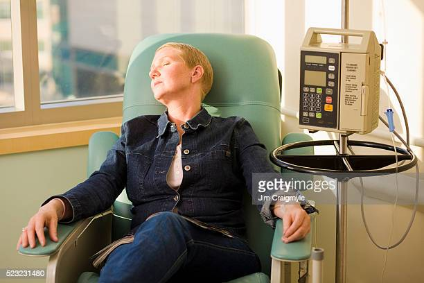 Woman Receiving Chemotherapy Treatment