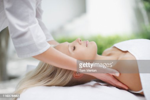 Woman receiving massage : Stock Photo