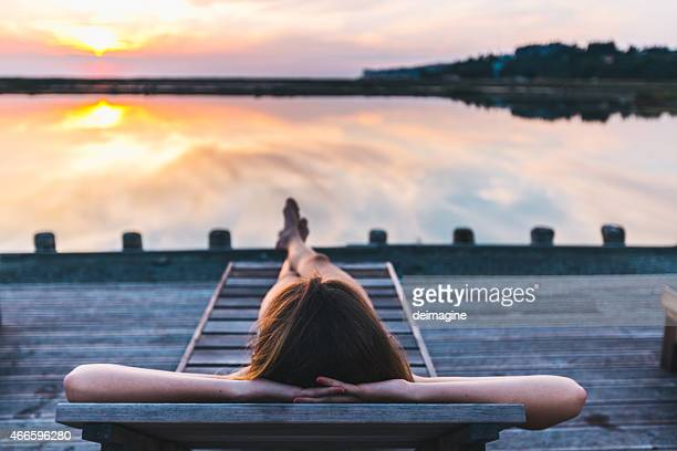 Woman relaxes in a spa