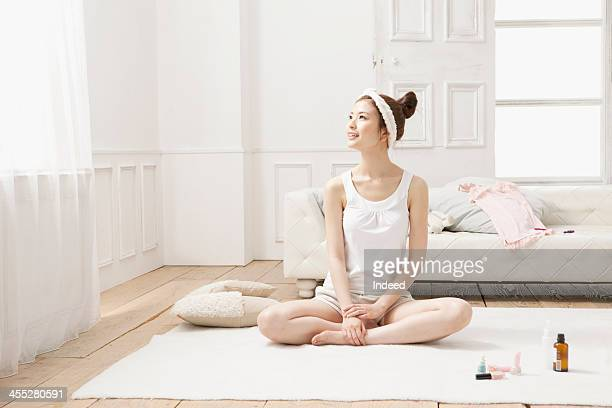 Woman relaxes with the loungewear