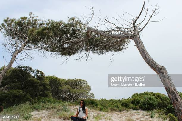 Woman Relaxing By Tree At Beach