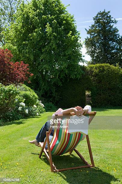 Woman relaxing deck chair