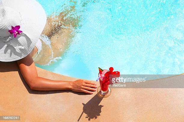 woman relaxing in waterpool