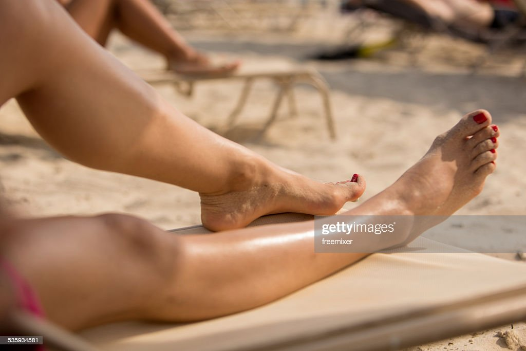 Woman Relaxing on a Beautiful Beach : Stock Photo