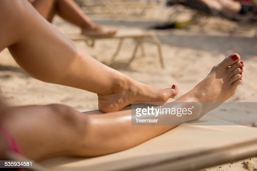 Woman Relaxing on a Beautiful Beach : Stock Photo