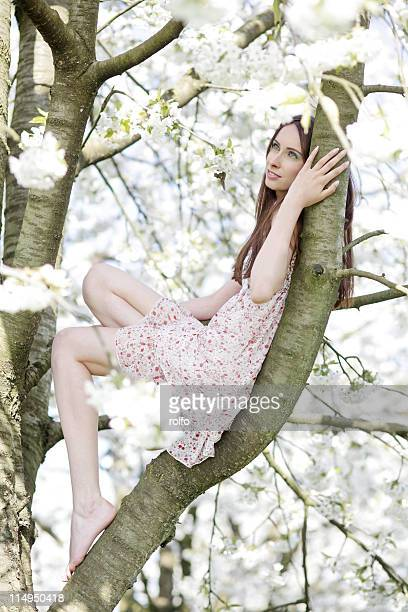 Woman relaxing on cherry tree