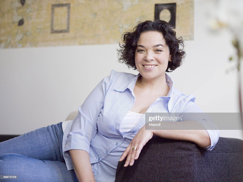 woman relaxing on the sofa.