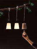 Woman replacing light bulb hanging on tree