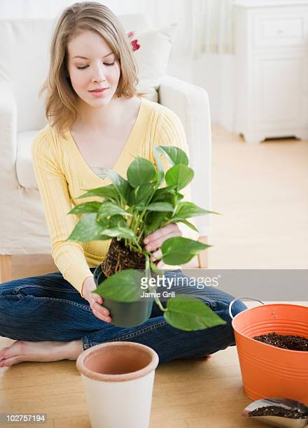 Woman replanting a houseplant