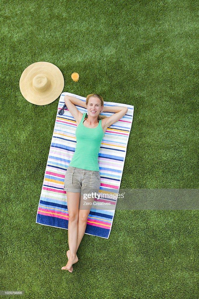 Woman resting in a garden