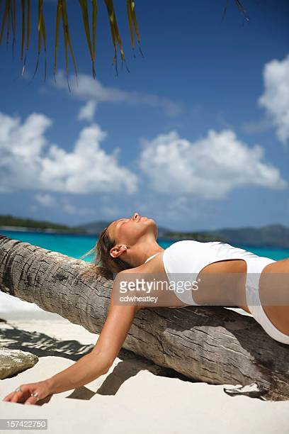 woman resting on a palm tree