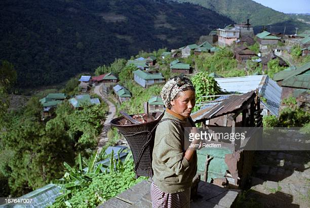 A woman returns from a days work in the rice fields on ancient stone paths Most Naga villages are atop hills and mountains the better to protect...