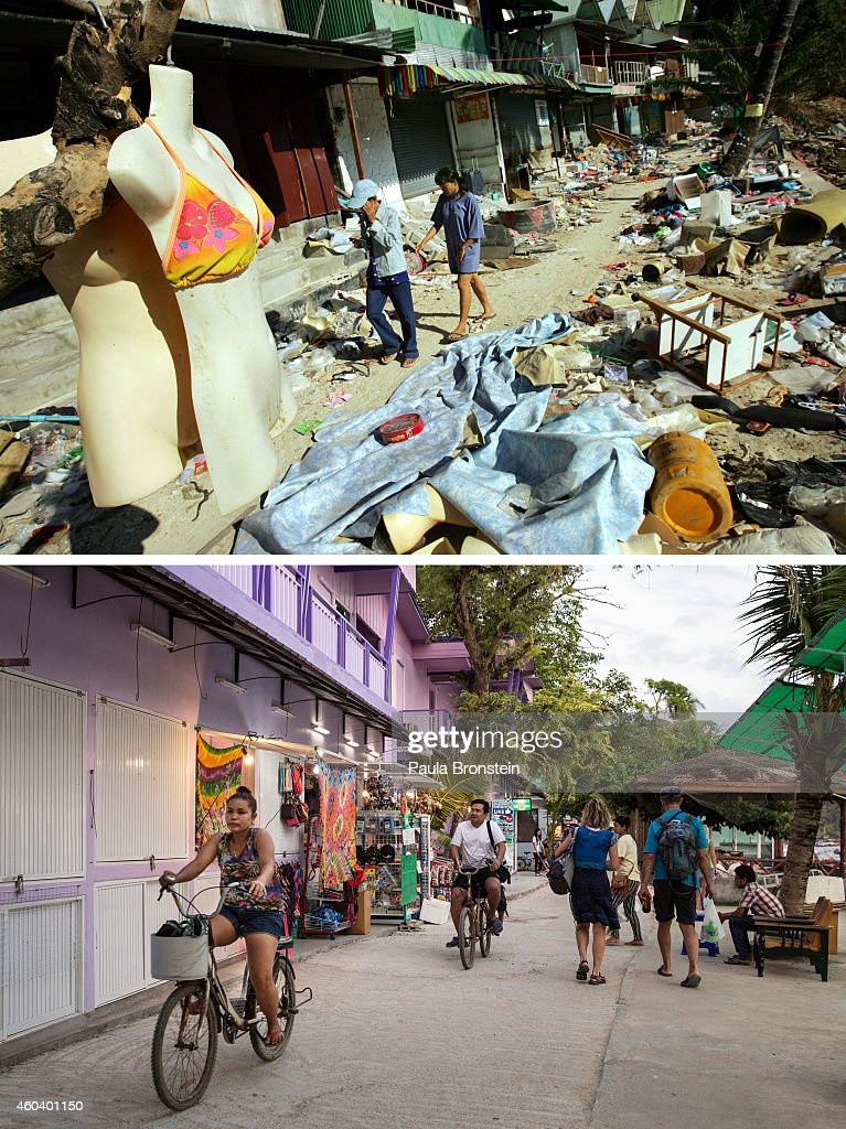 In this composite image a comparison has been made between a scene in 2004 and 2014 PHI PHI ISLAND THAILAND DECEMBER 13 A woman rides a bicycle along...
