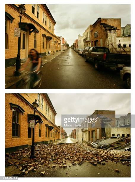 A woman rides her bicycle down a street in the French Quarter July 25 2006 in New Orleans Louisiana New Orleans residents are struggling to rebuild...