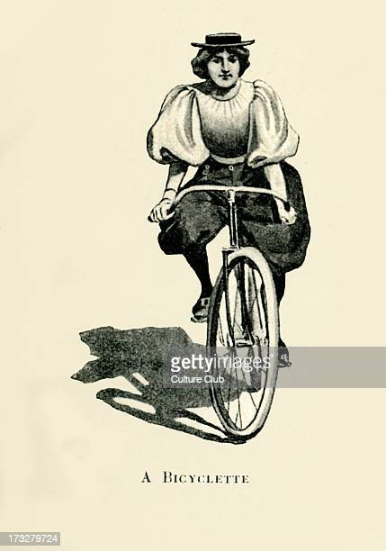 Woman riding a bicycle Illustration early 20th century