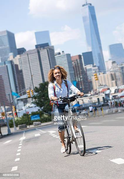 Woman riding a bicycle in New York